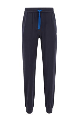 Cuffed loungewear trousers in stretch cotton, Dark Blue