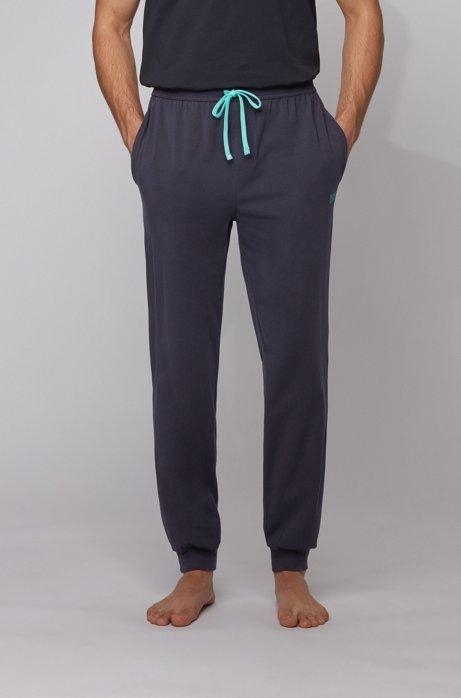 Cuffed loungewear trousers in stretch cotton, Light Blue