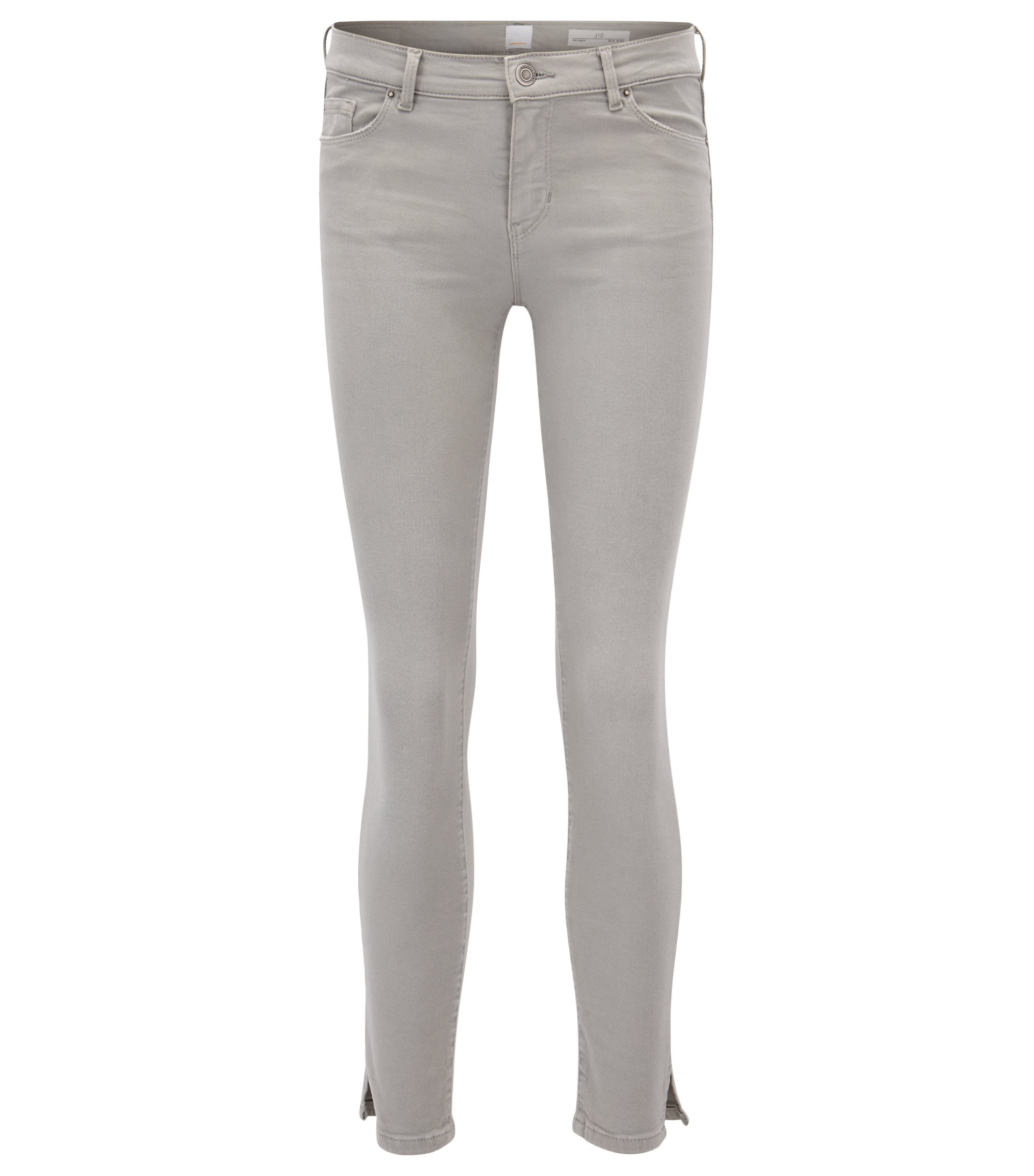 Skinny-fit cropped jeans in stretch denim, Grey