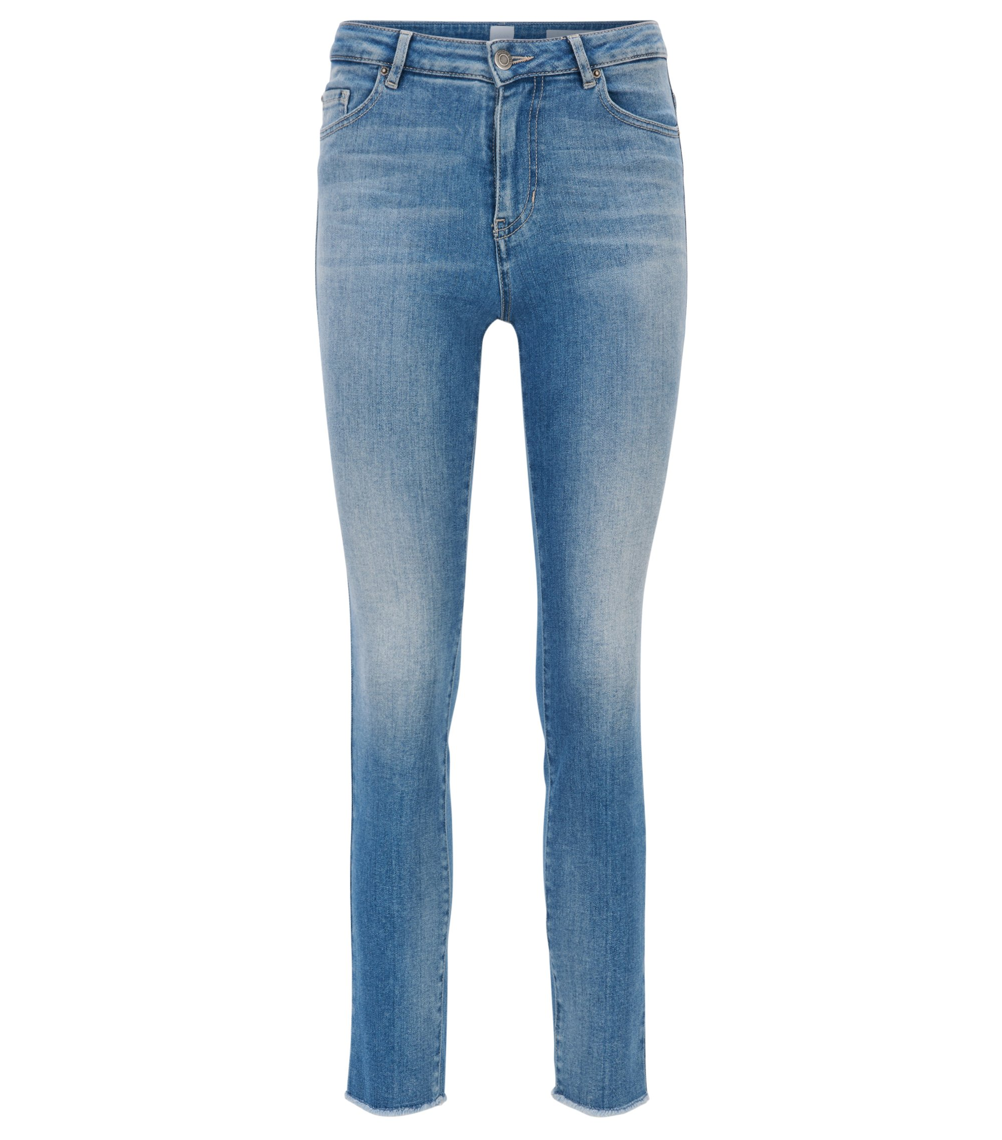 Jean raccourci Skinny Fit en denim italien stretch, Bleu