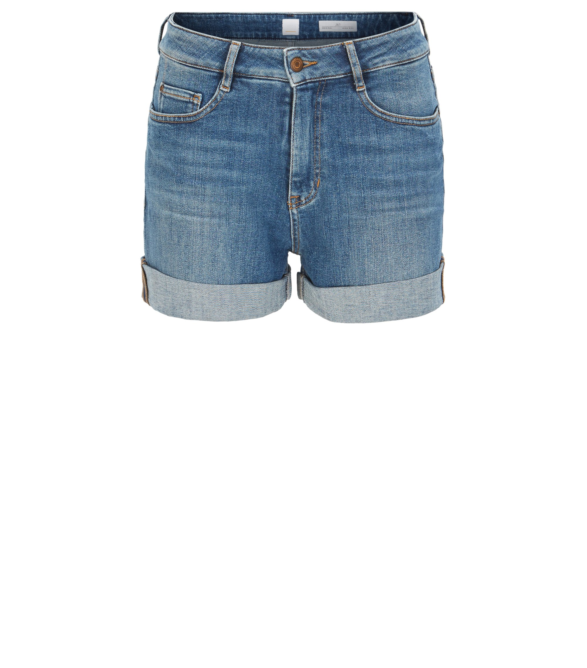 High-waisted shorts in stretch slub denim, Blue