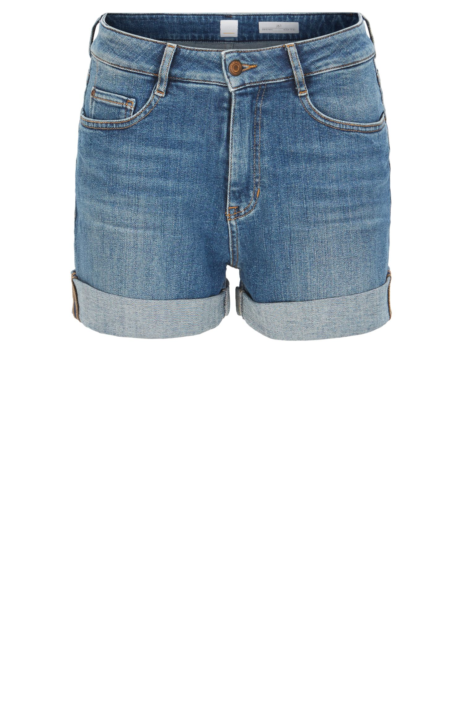 High-waisted shorts in stretch slub denim