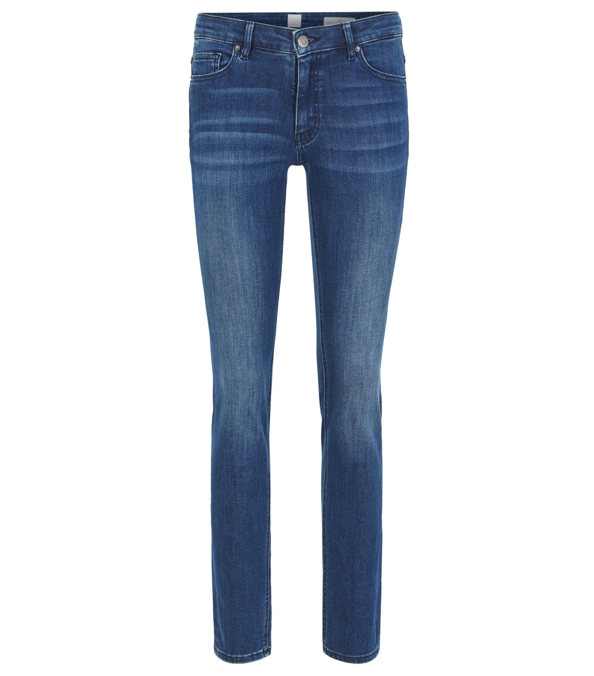 Slim-fit mid-blue jeans in comfort-stretch denim, Dark Blue