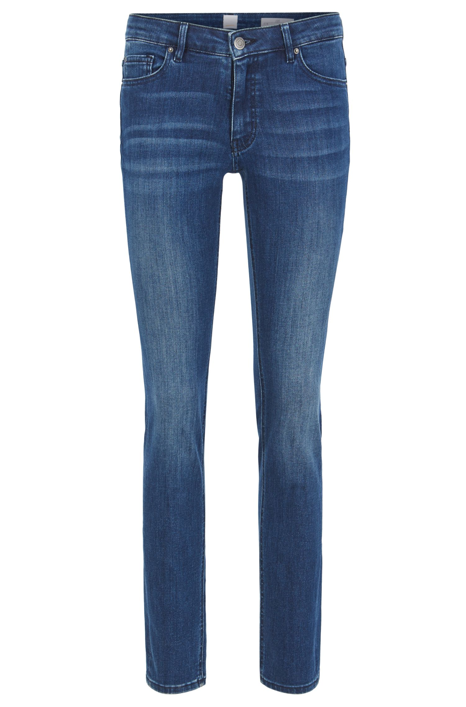 Slim-fit mid-blue jeans in comfort-stretch denim
