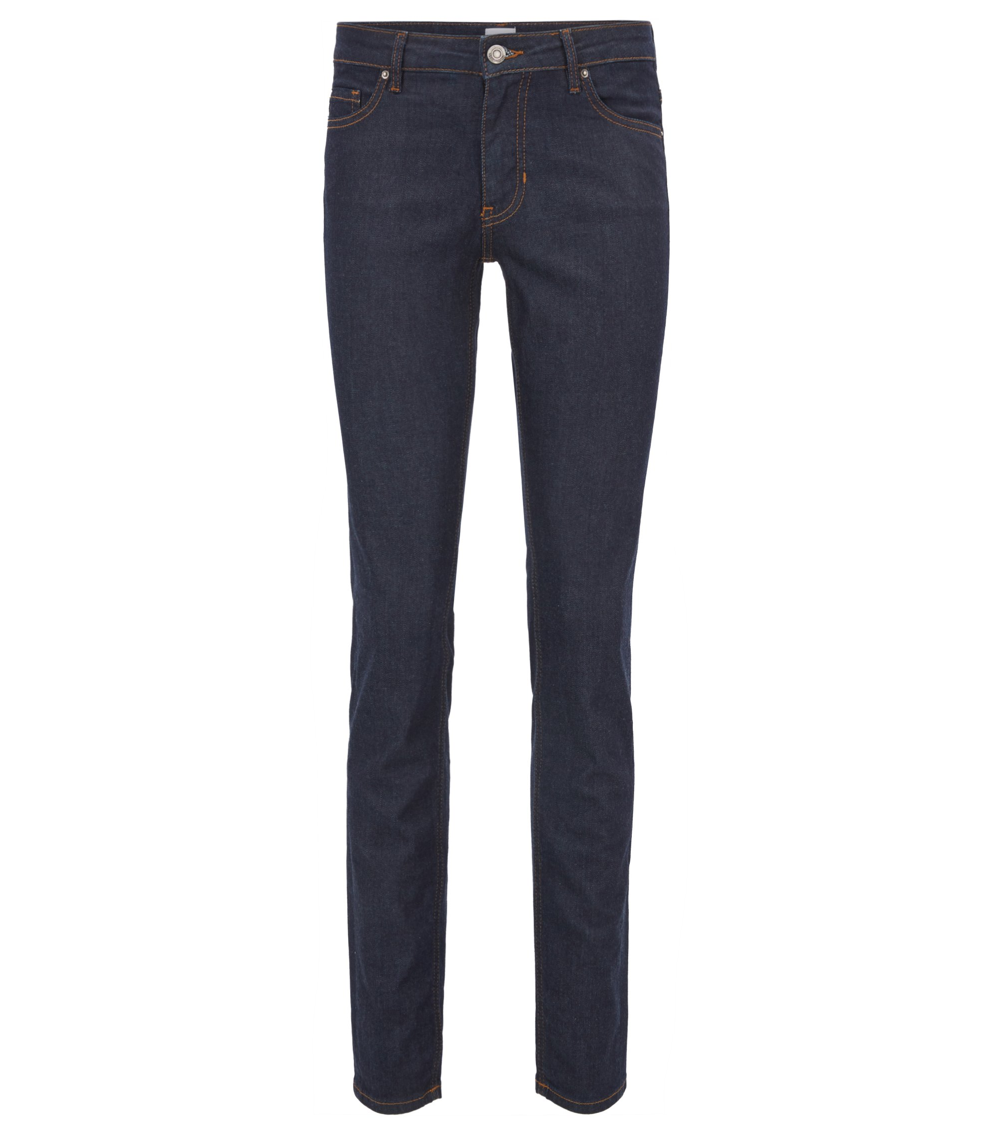 Jeans slim fit in denim elasticizzato blu intenso, Blu scuro