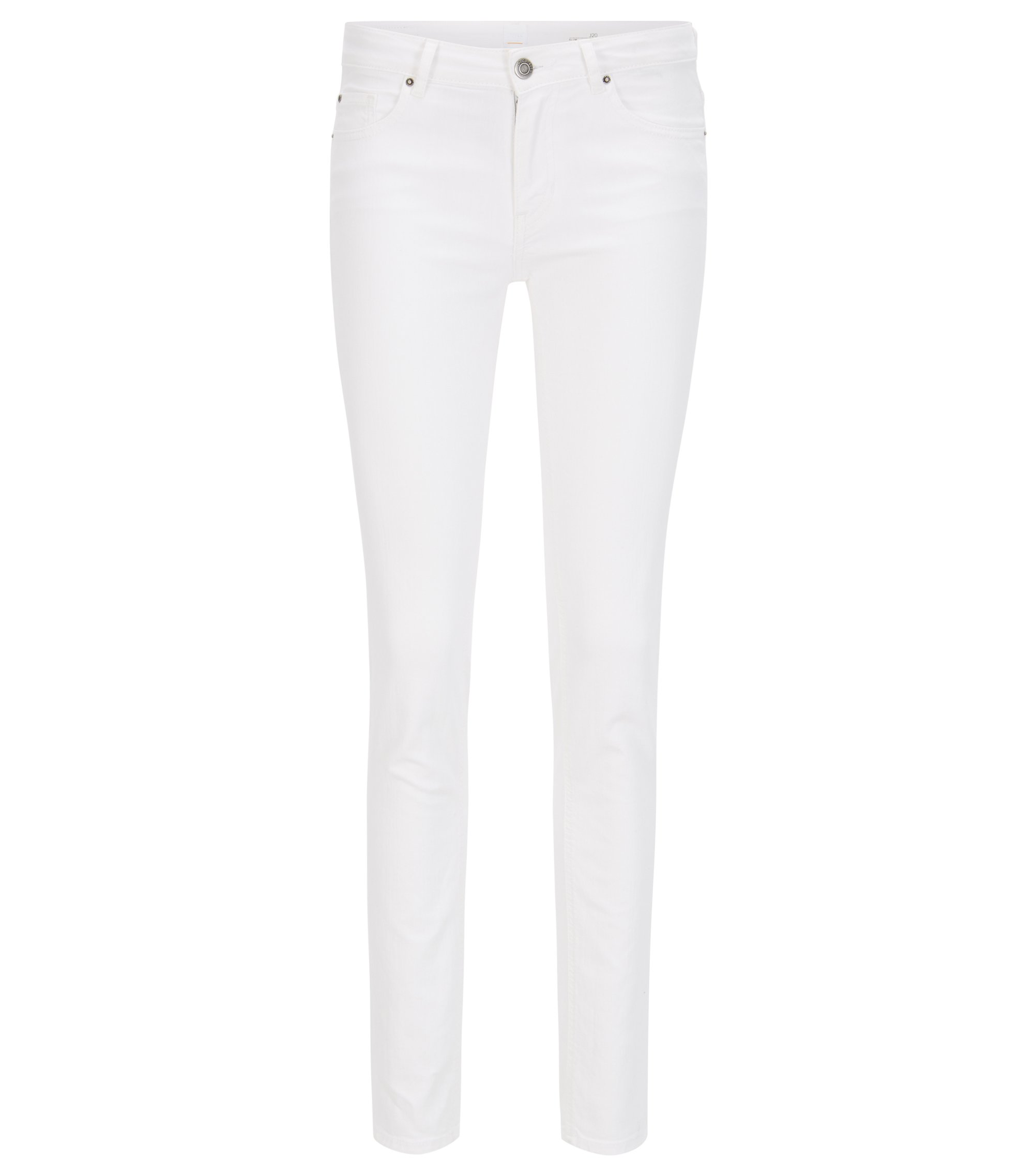 Witte slim-fit jeans van comfortabel stretchdenim, Naturel