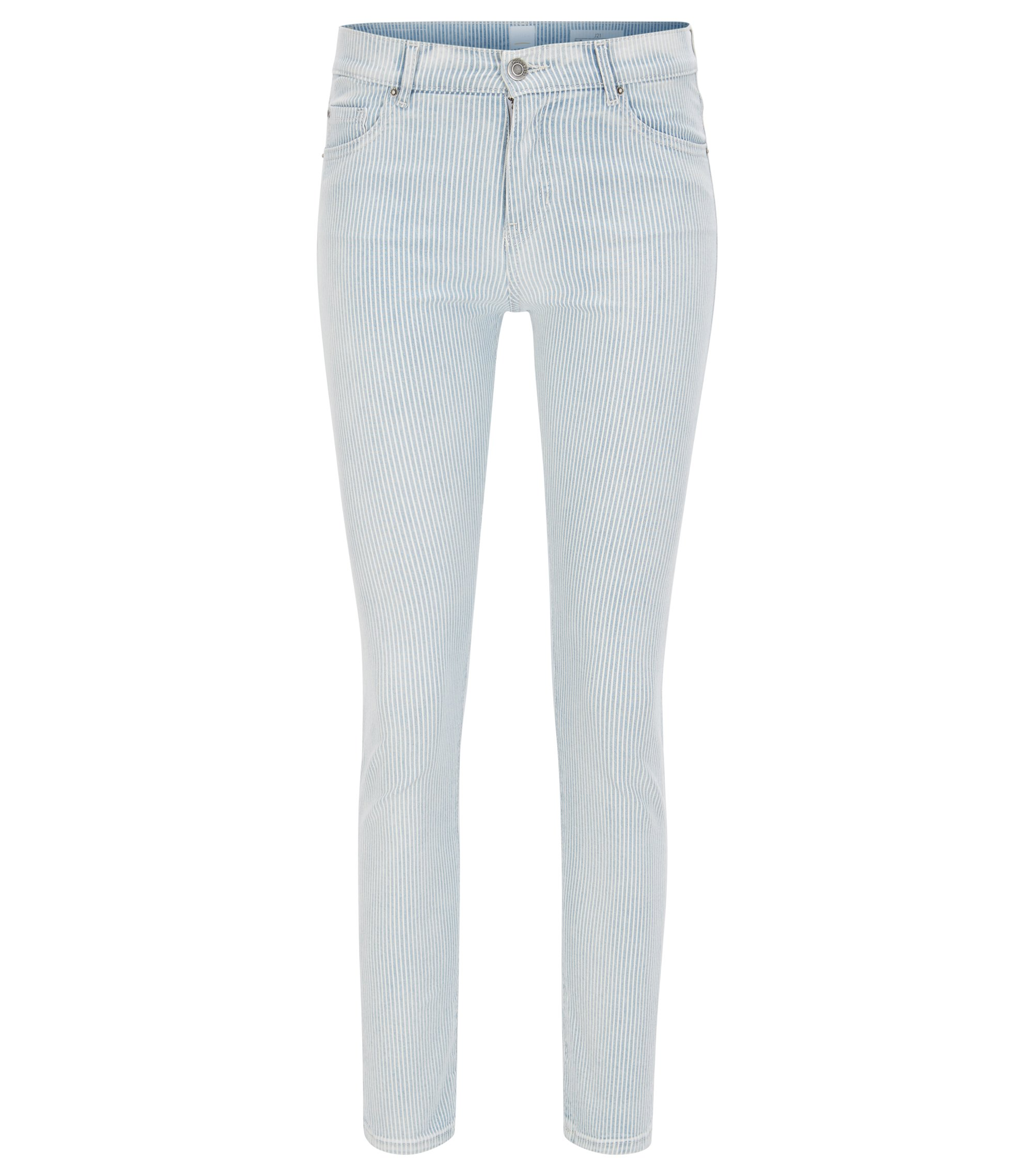 Slim-fit cropped jeans in comfort-stretch denim, Light Blue