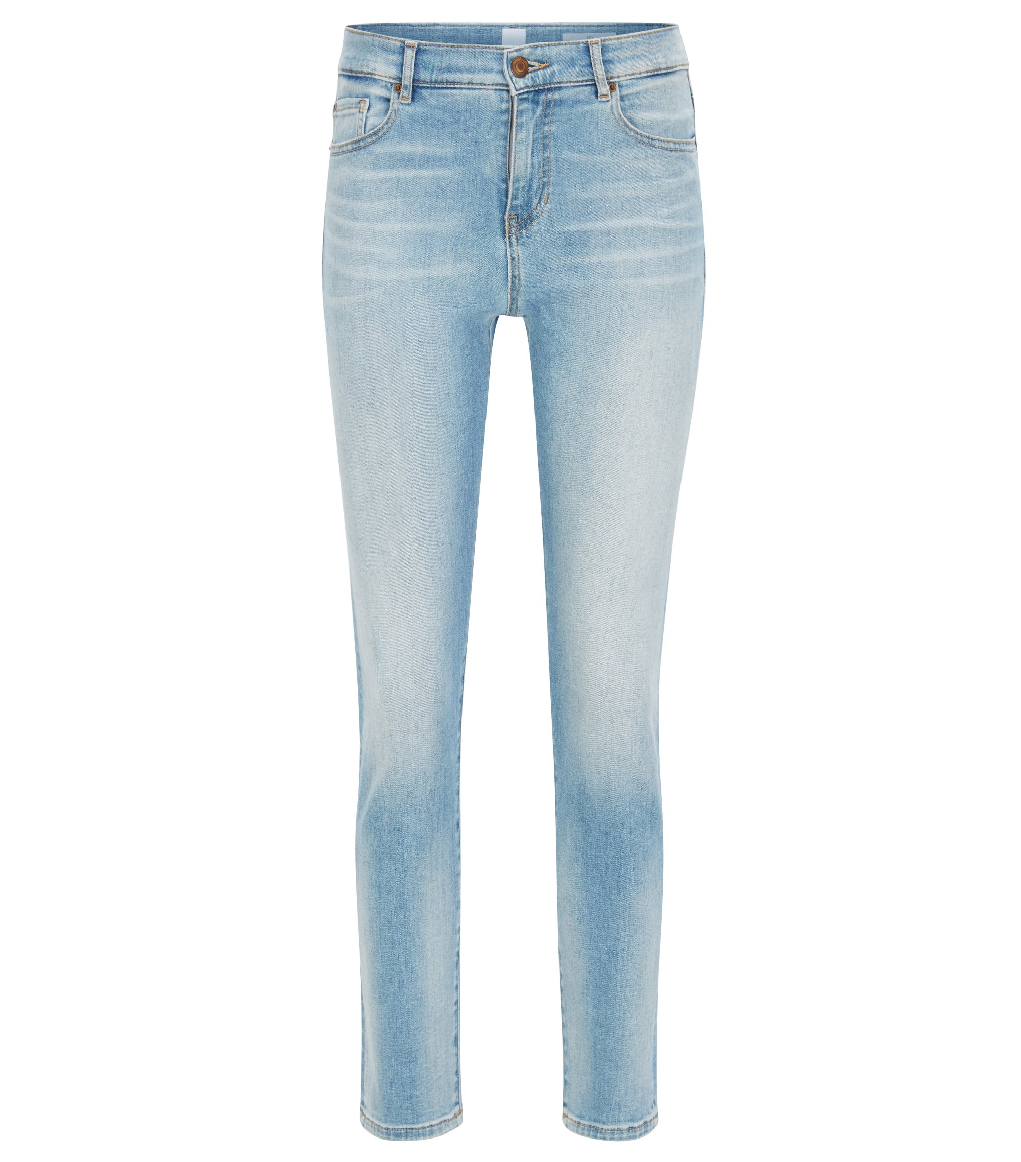 Slim-fit jeans in Italian stretch denim, Bleu vif