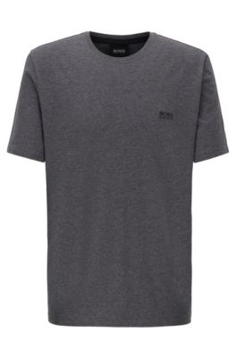 Loungewear-T-Shirt aus Stretch-Baumwolle, Dunkelgrau