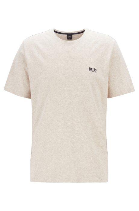 Loungewear-T-Shirt aus Stretch-Baumwolle, Hellgrau