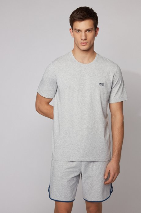 Loungewear T-shirt in stretch cotton, Light Grey
