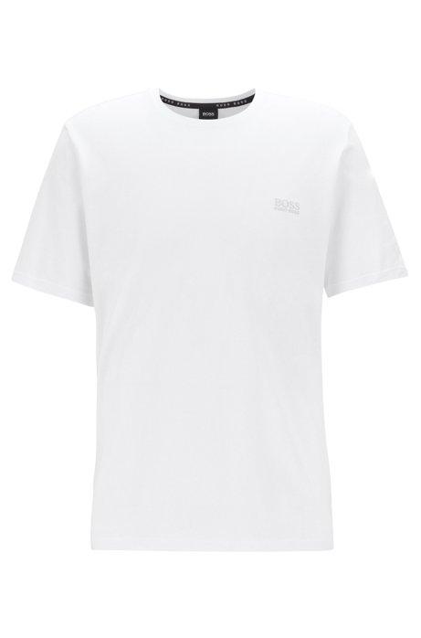 Loungewear-T-Shirt aus Stretch-Baumwolle, Weiß