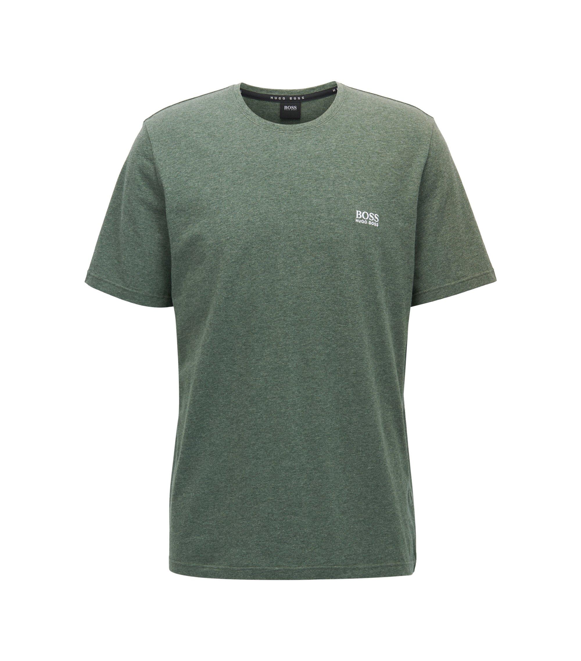 Loungewear T-shirt in stretch cotton, Donkergroen