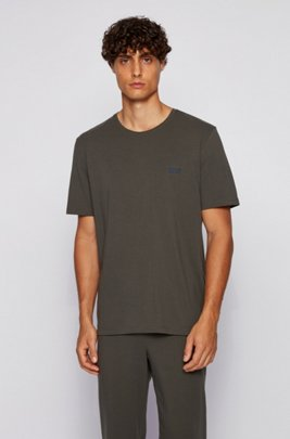 Loungewear T-shirt in stretch cotton, Dark Green