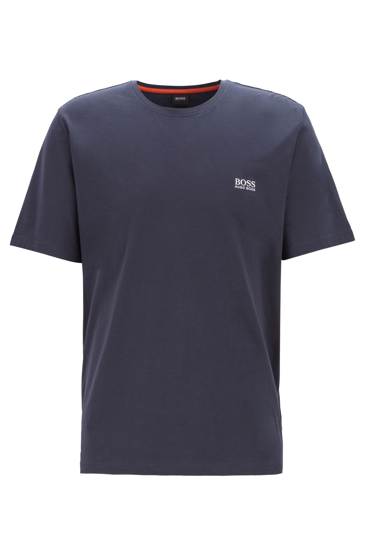 Loungewear-T-Shirt aus Stretch-Baumwolle, Dunkelblau