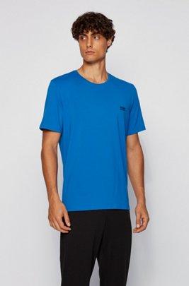 ストレッチコットン素材を使ったラウンジウエアのTシャツ, ブルー