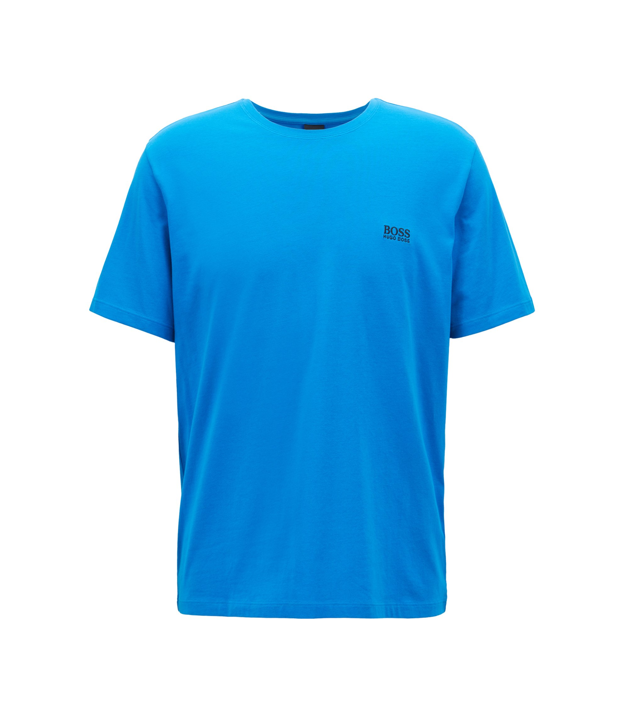 Loungewear-T-Shirt aus Stretch-Baumwolle, Blau