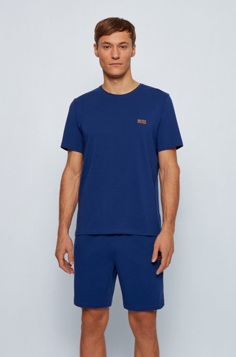Loungewear T-shirt in stretch cotton, Blue