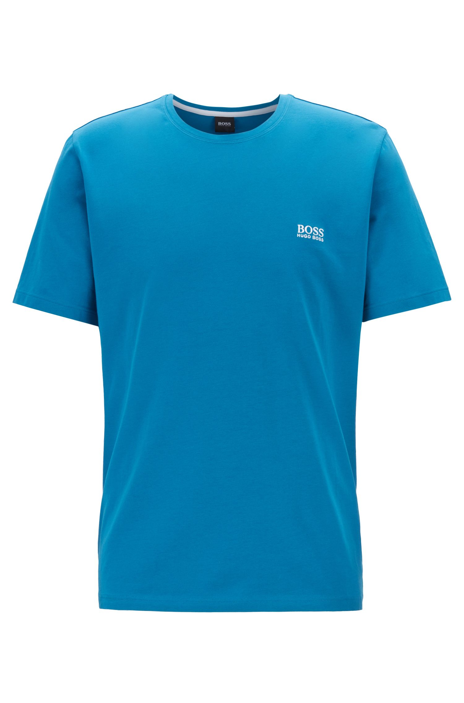 Loungewear T-shirt in stretch cotton, Turquoise