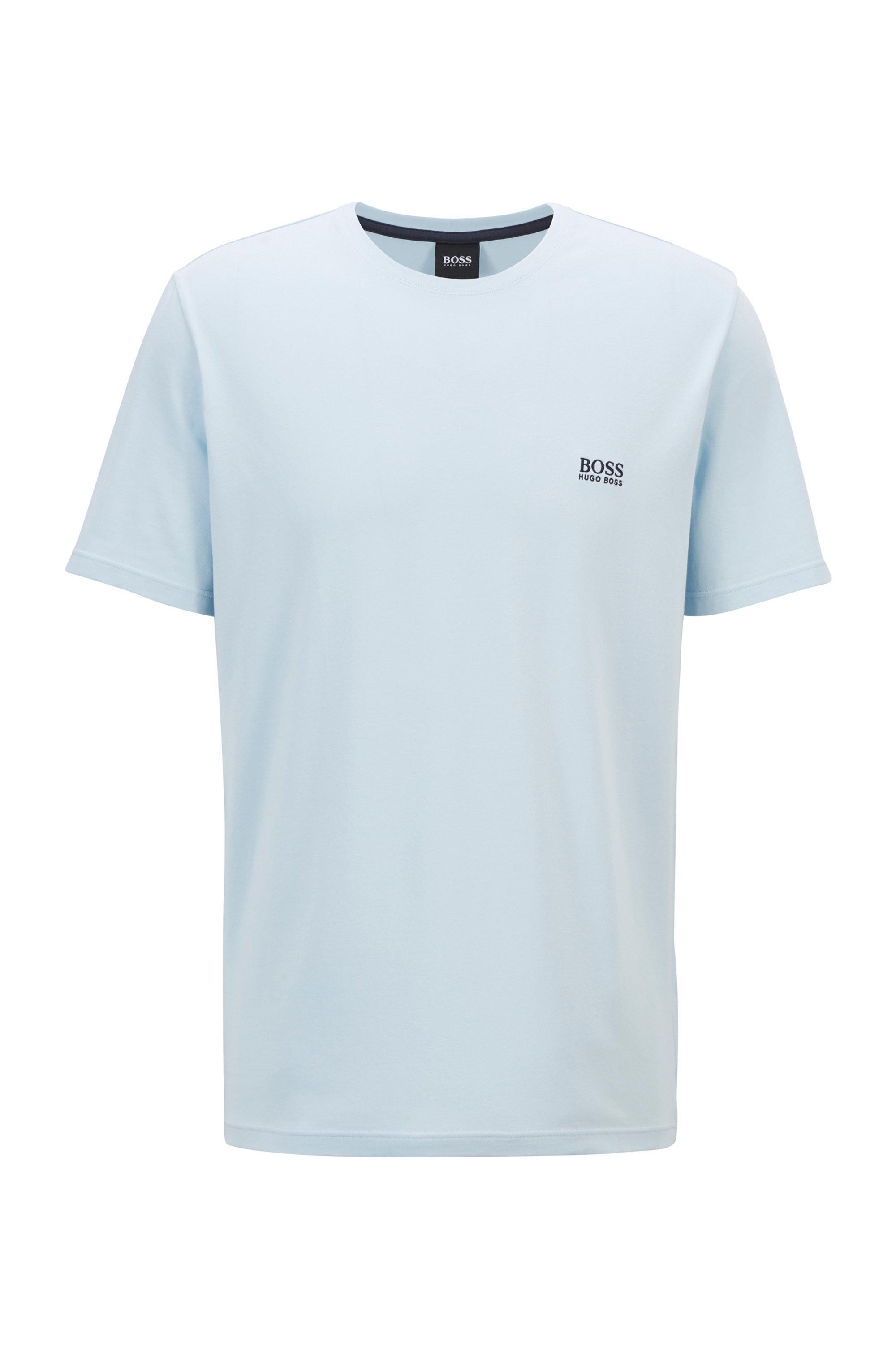 Loungewear-T-Shirt aus Stretch-Baumwolle, Hellblau