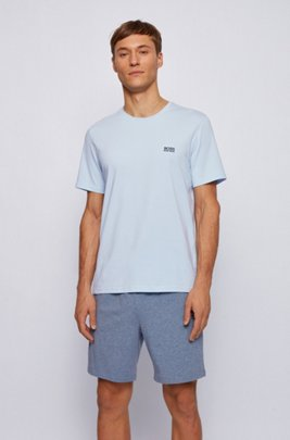 Loungewear T-shirt in stretch cotton, Light Blue