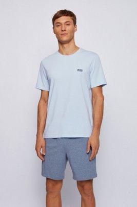 Loungewear T-shirt in stretch cotton, Light Blue