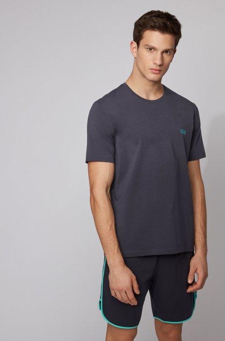 T-shirt per il tempo libero in cotone elasticizzato, Celeste
