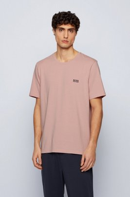 Loungewear-T-Shirt aus Stretch-Baumwolle, Hellrosa