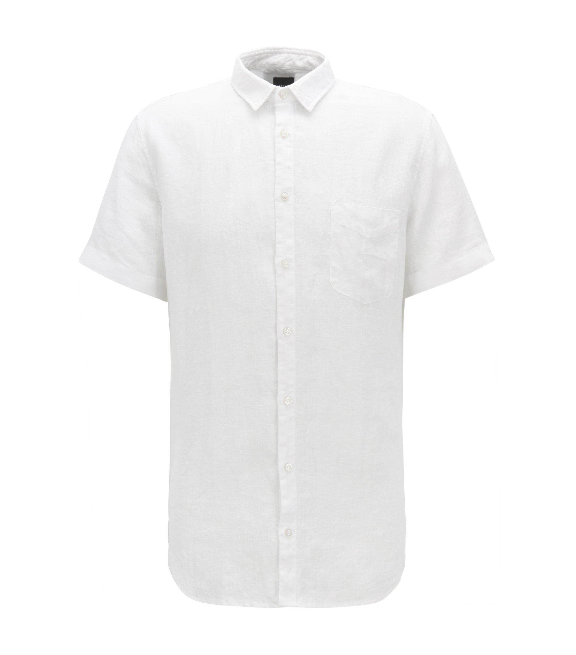 Chemise en lin Slim Fit à la teinture pigmentaire, Blanc