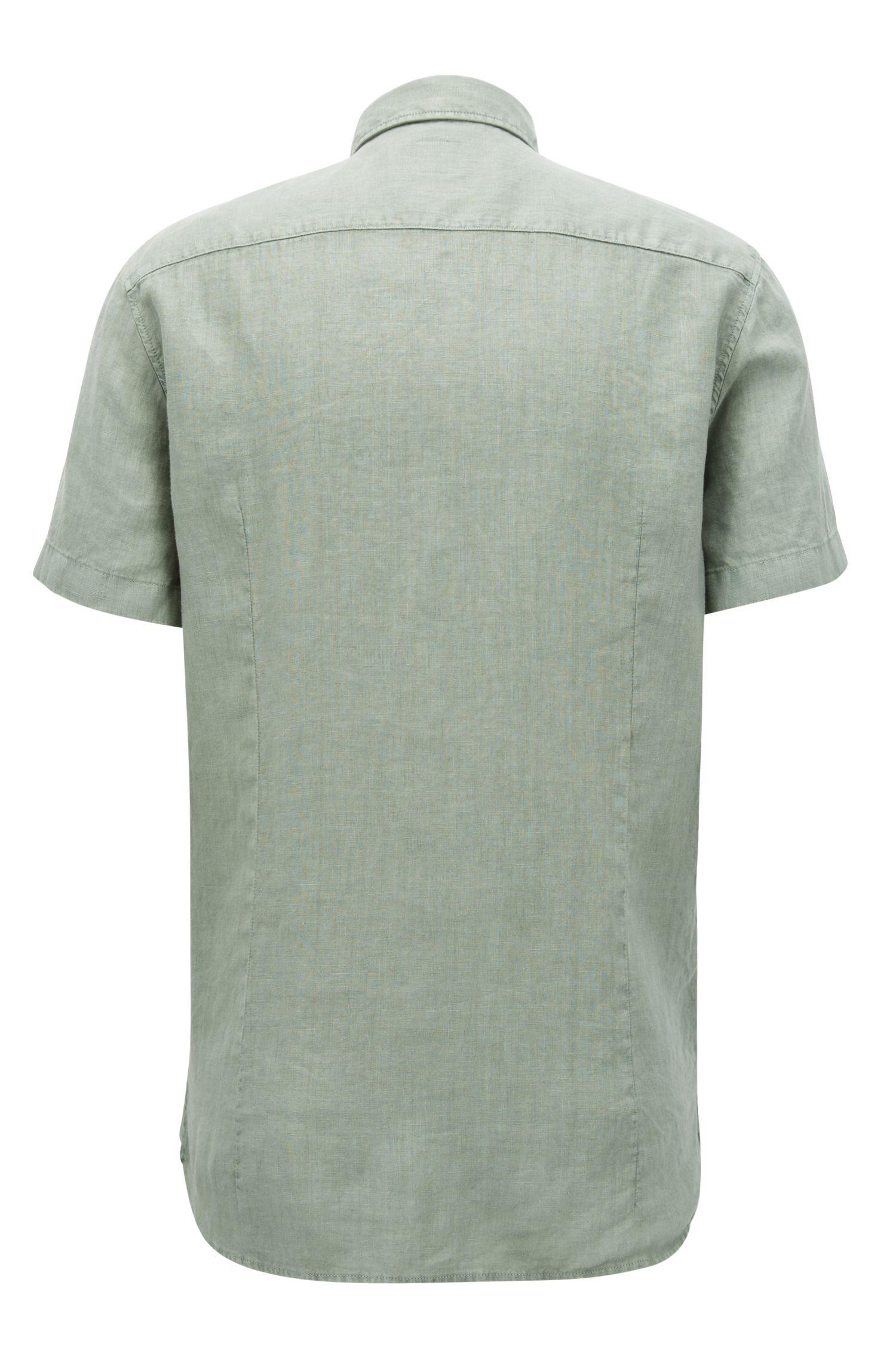 Slim-fit overhemd van linnen met pigment-dyed afwerking