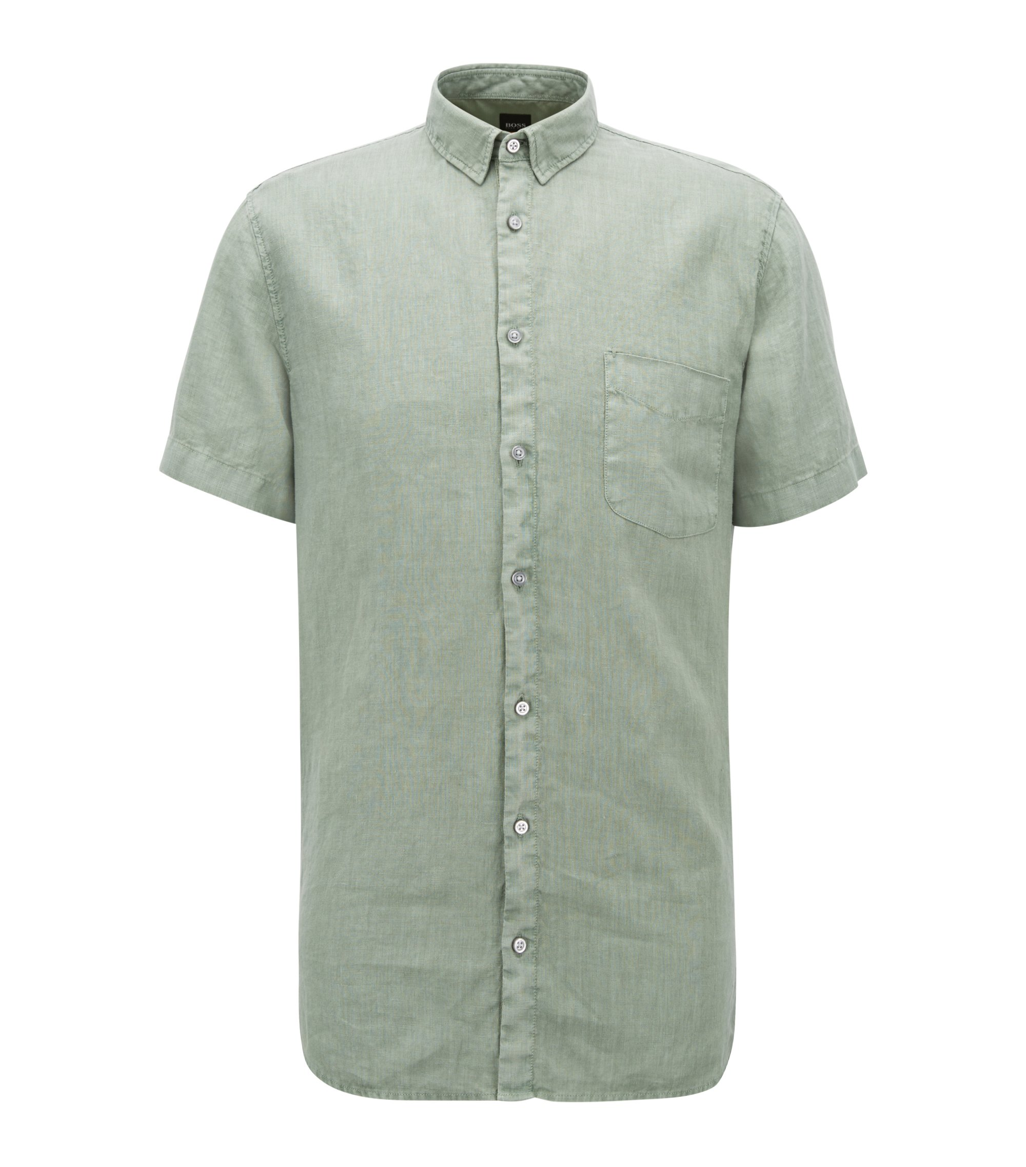 Slim-fit linen shirt with pigment-dyed finish, Light Green