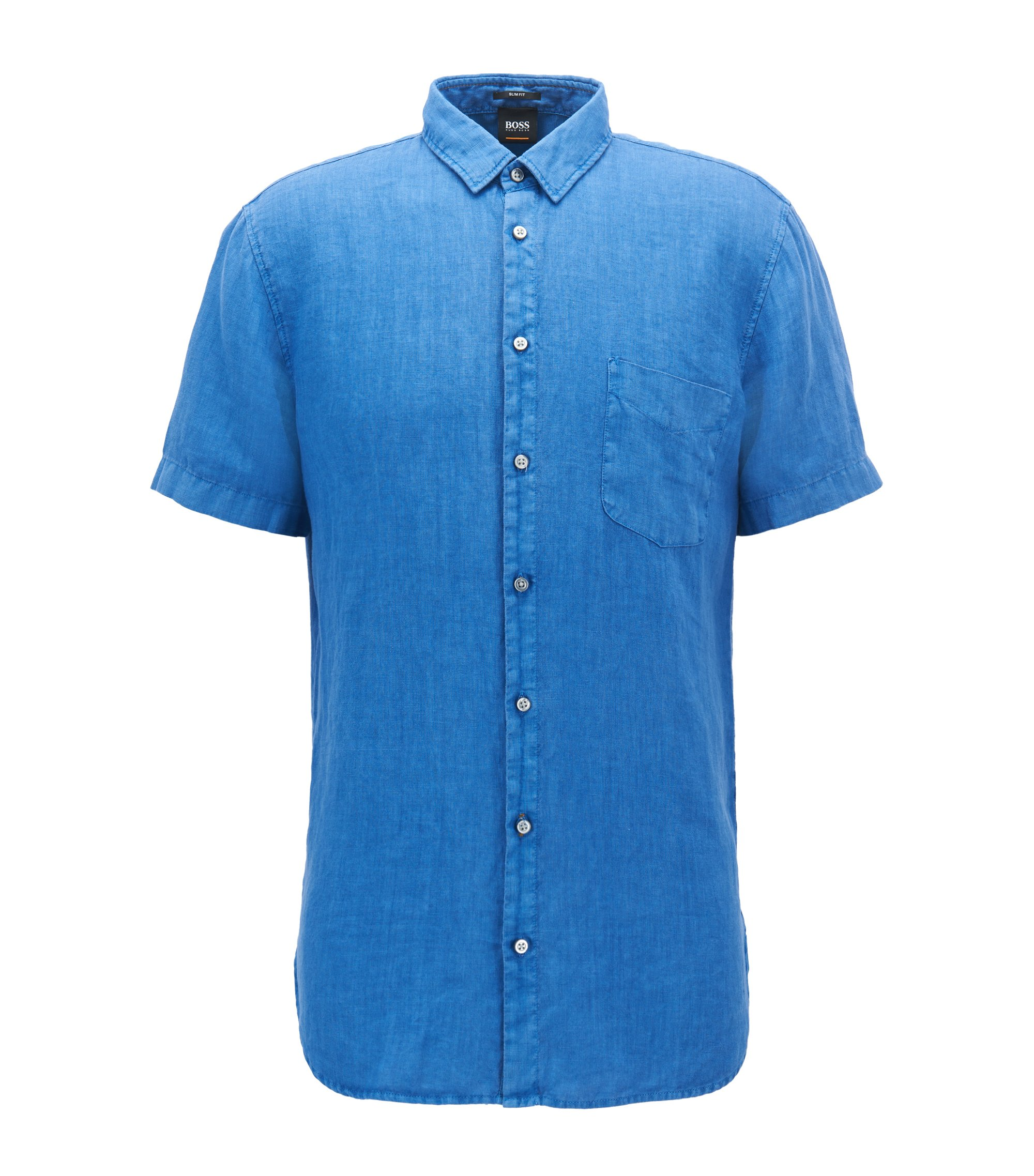 Slim-fit linen shirt with pigment-dyed finish, Blue