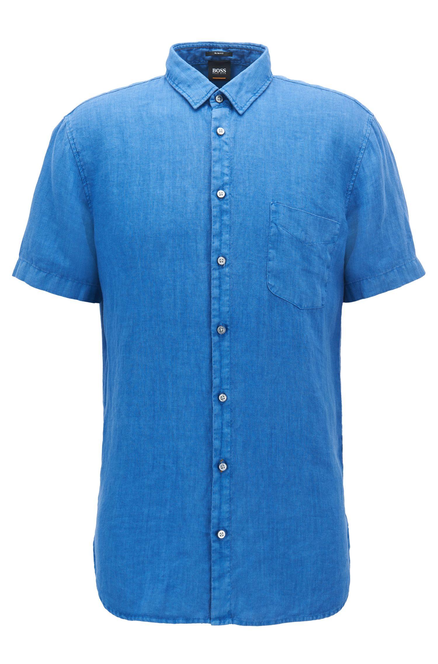 Pigmentgefärbtes Slim-Fit Kurzarm-Hemd aus Leinen
