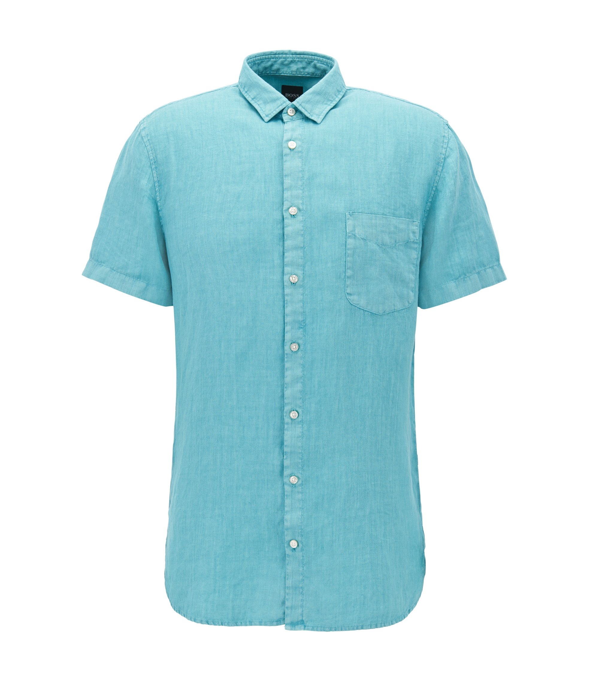 Slim-fit linen shirt with pigment-dyed finish, Turquoise
