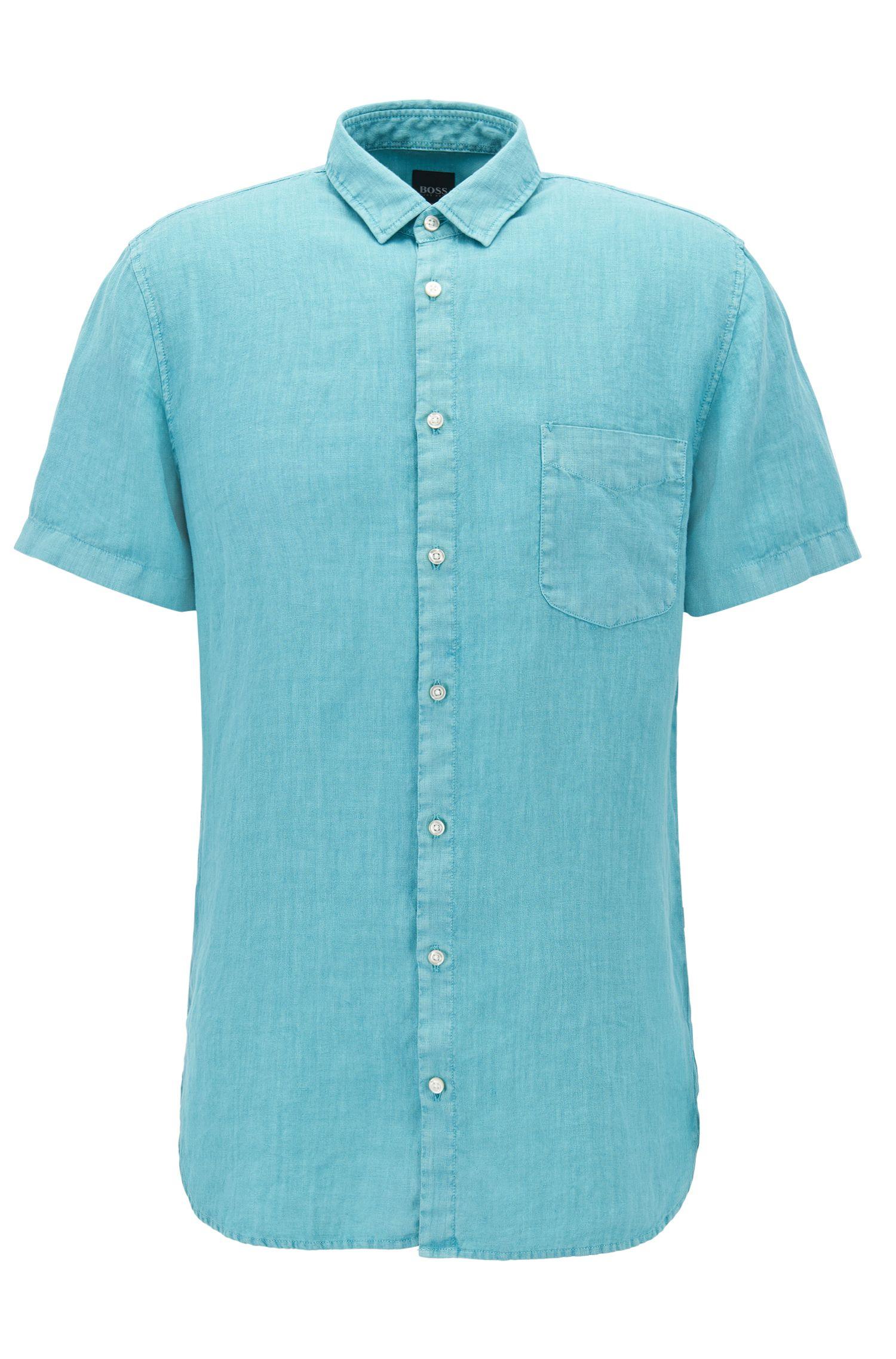 Camicia in lino slim fit rifinita con tintura a pigmenti