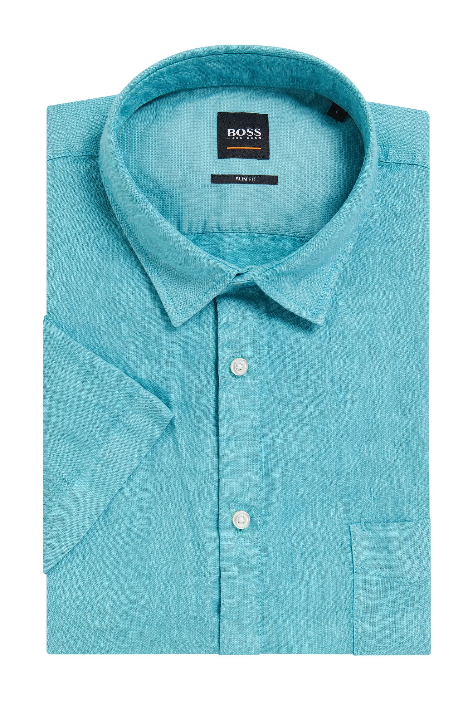 Slim-fit linen shirt with pigment-dyed finish