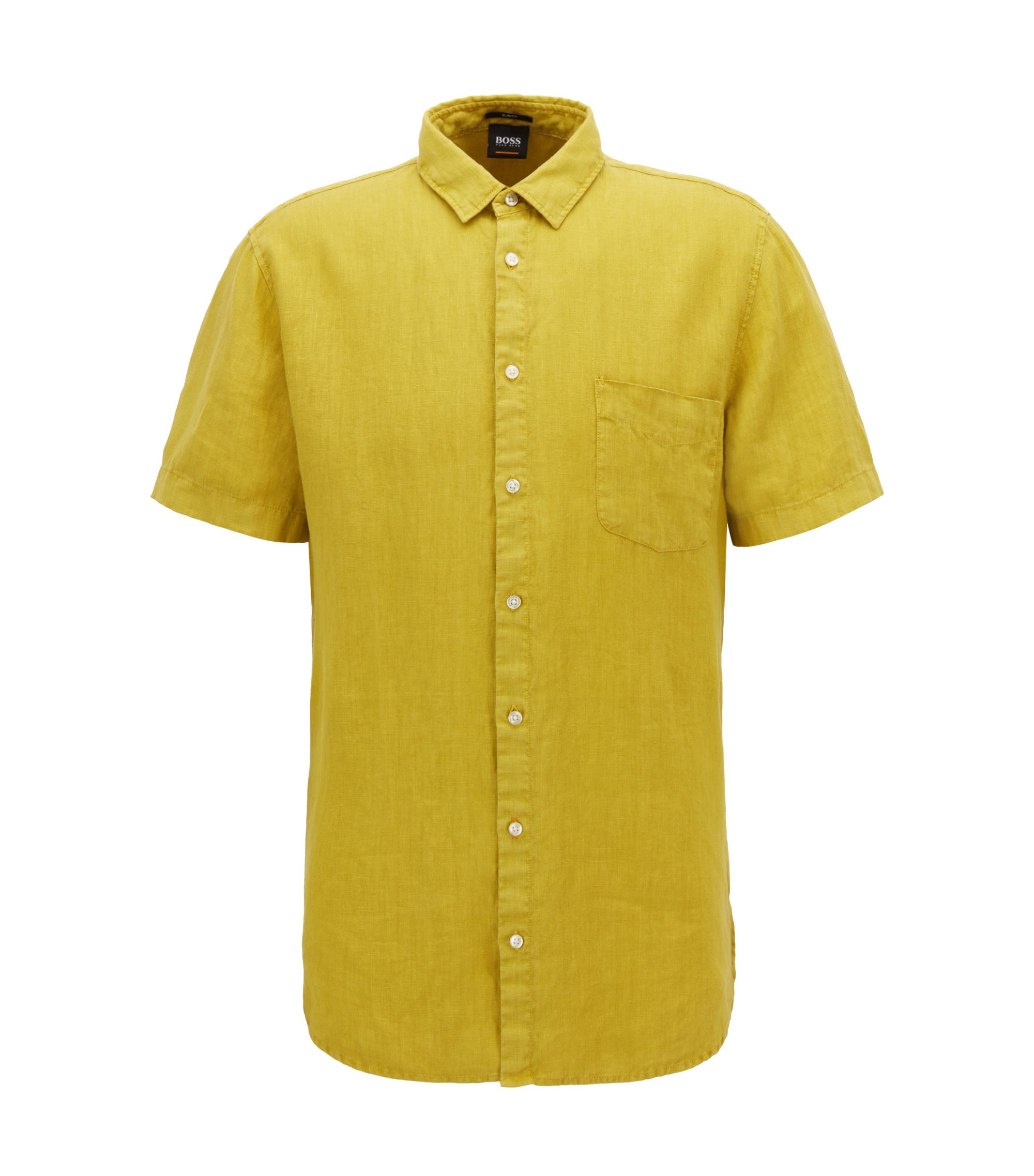 Slim-fit linen shirt with pigment-dyed finish, Yellow