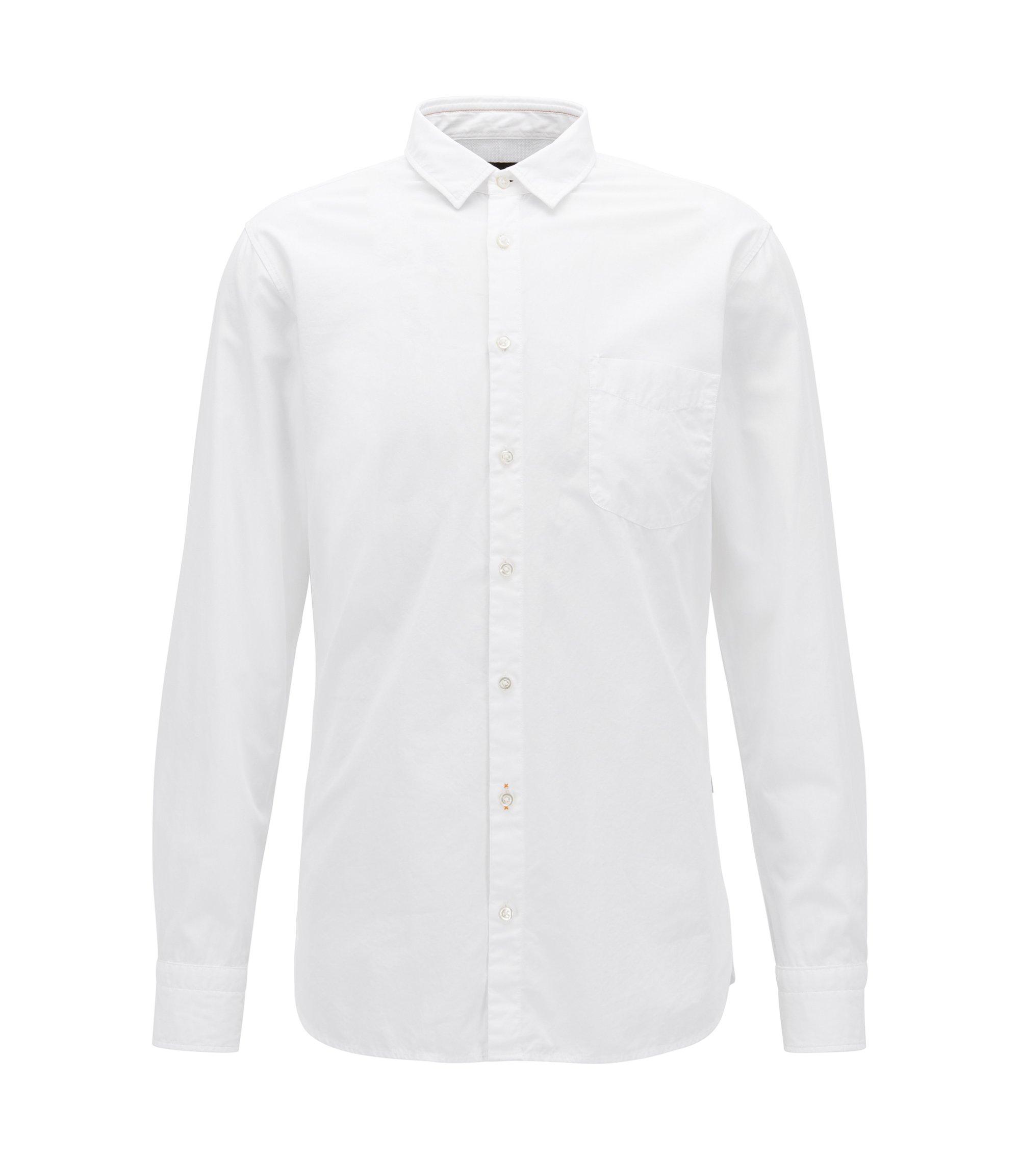 Slim-Fit Hemd aus strukturierter Baumwoll-Popeline, Weiß