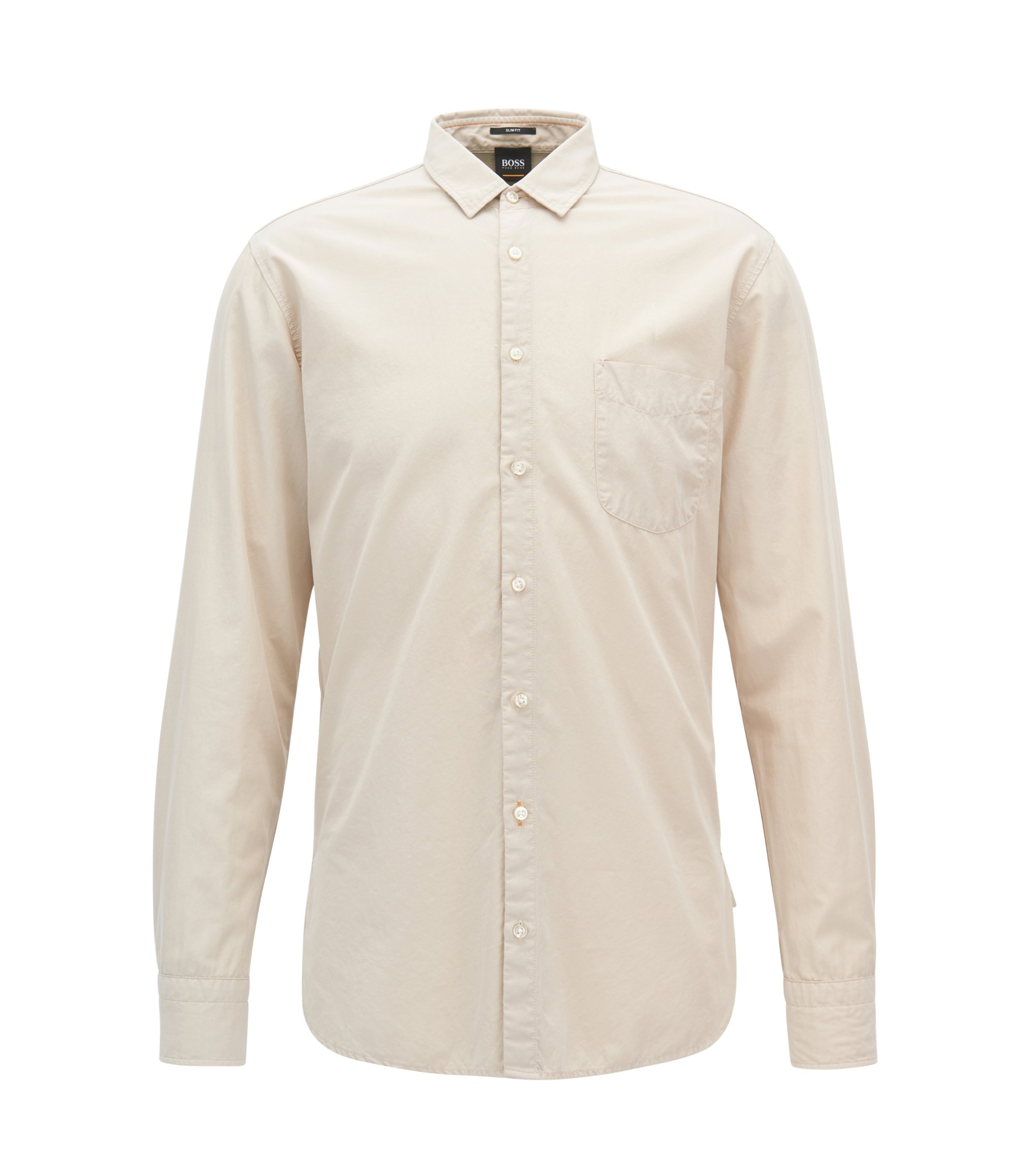 Slim-fit shirt in dobby cotton poplin, Natural