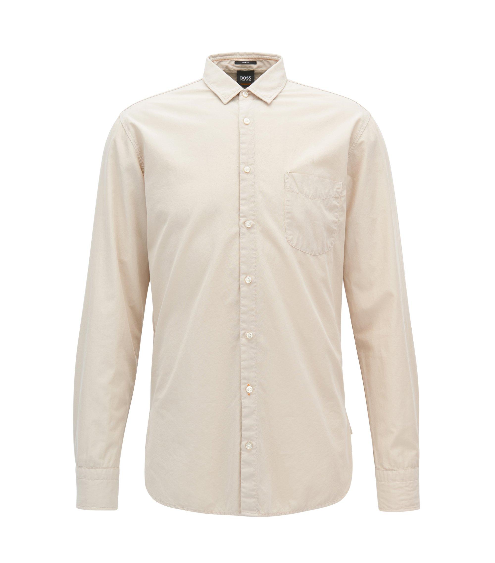 Slim-fit overhemd van dobby-katoenpopeline, Naturel
