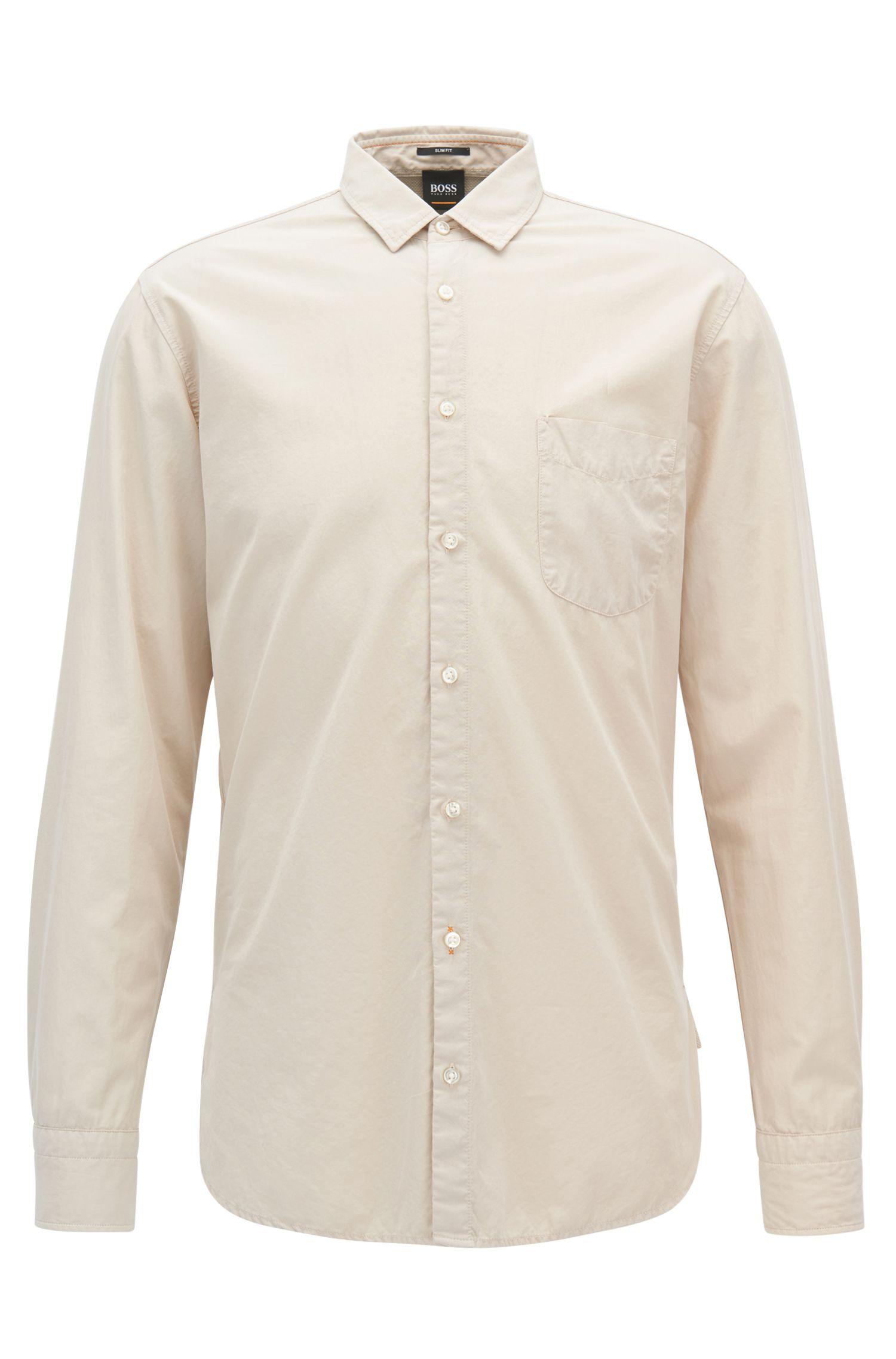 Camisa slim fit en popelín de algodón dobby