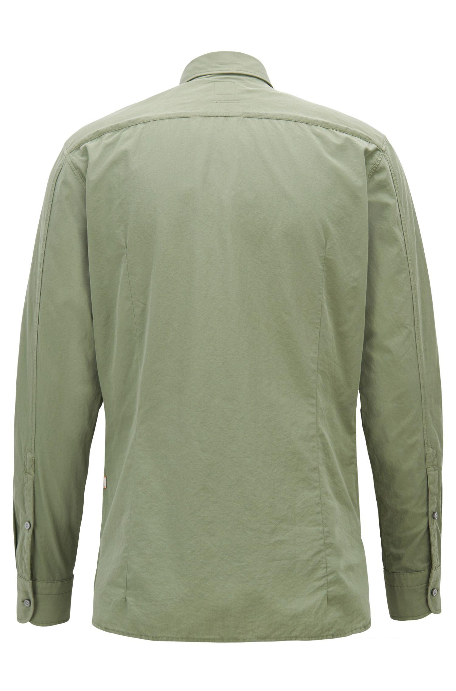 Slim-Fit Hemd aus strukturierter Baumwoll-Popeline