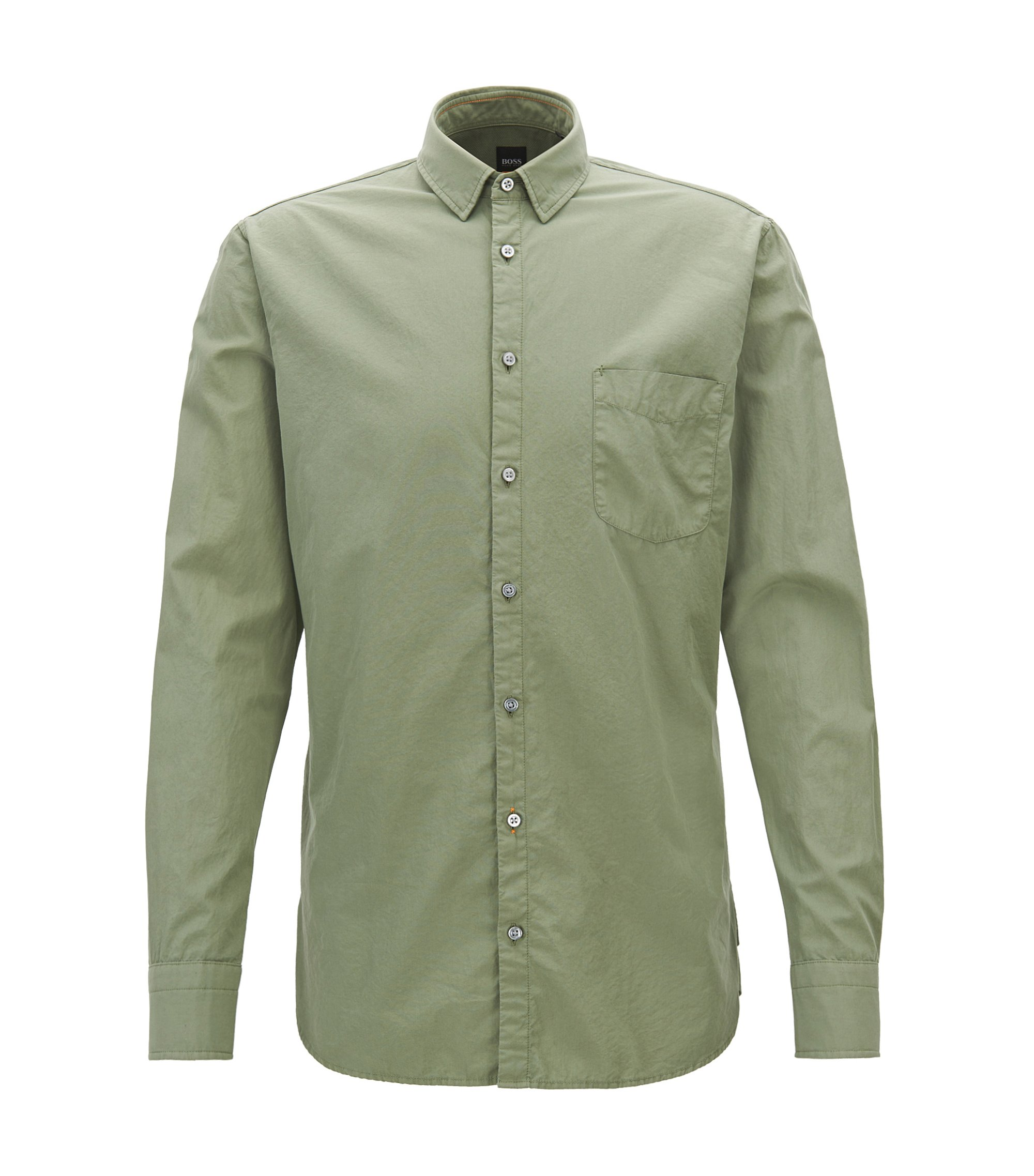 Slim-fit shirt in dobby cotton poplin, Light Green