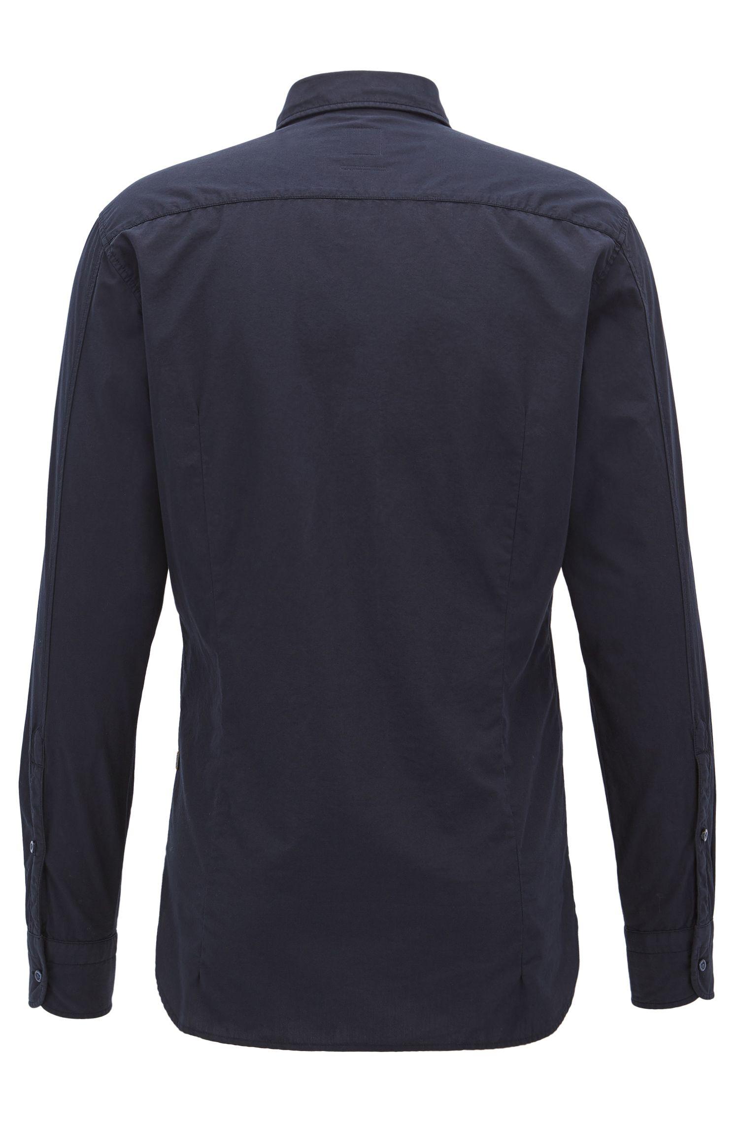 Slim-fit overhemd van dobby-katoenpopeline