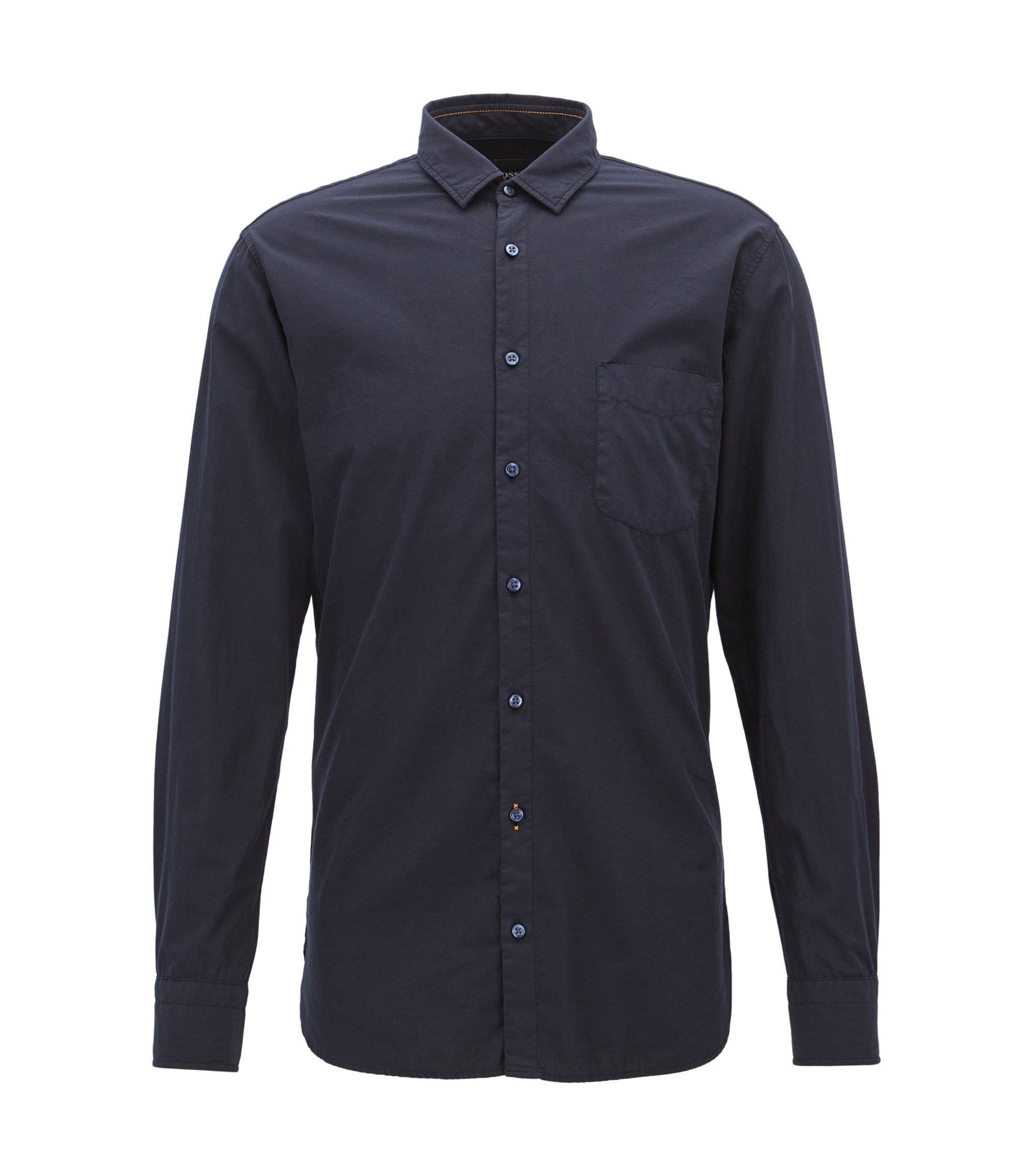 Slim-fit shirt in dobby cotton poplin, Dark Blue