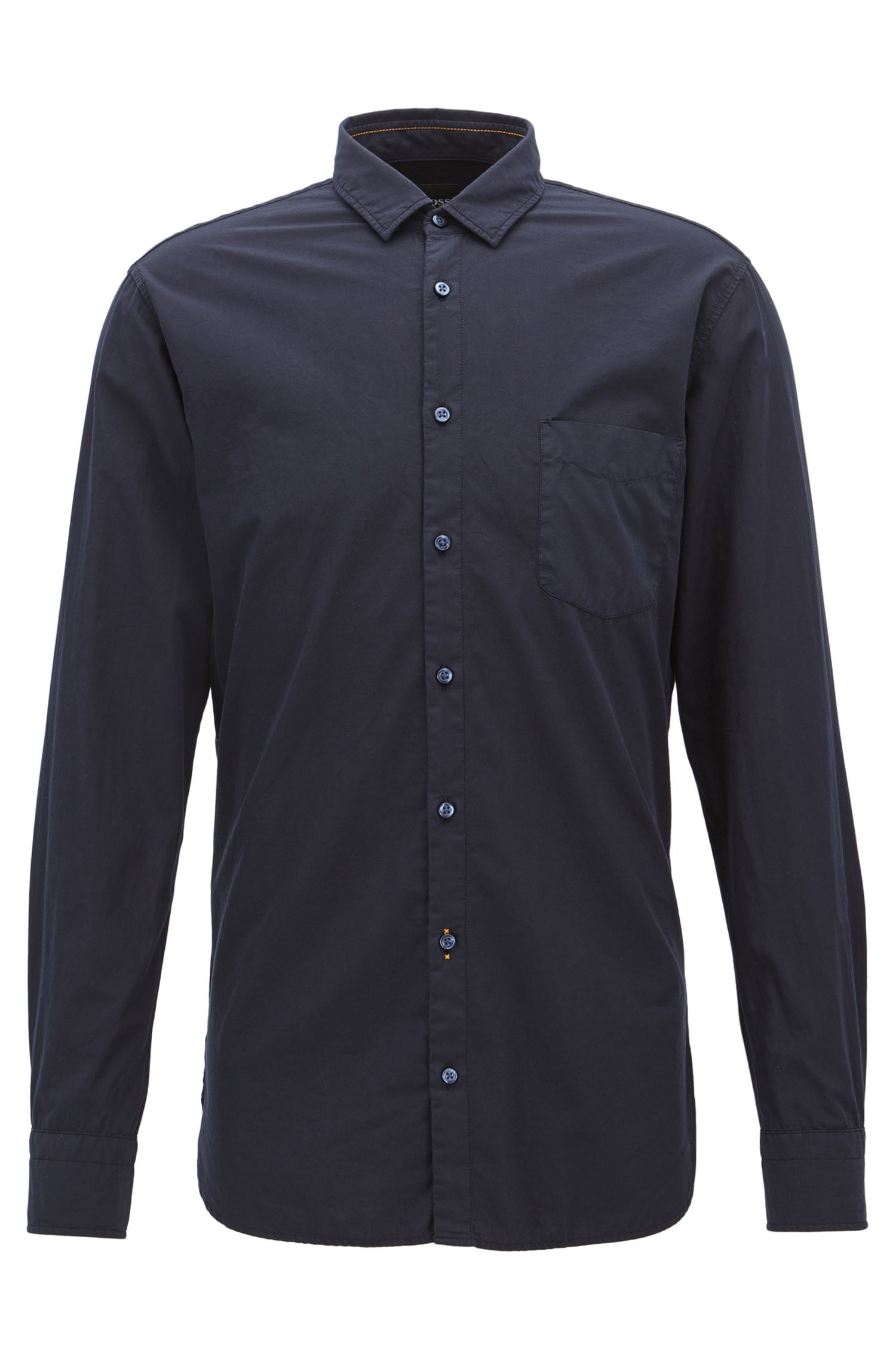 Slim-fit shirt in dobby cotton poplin
