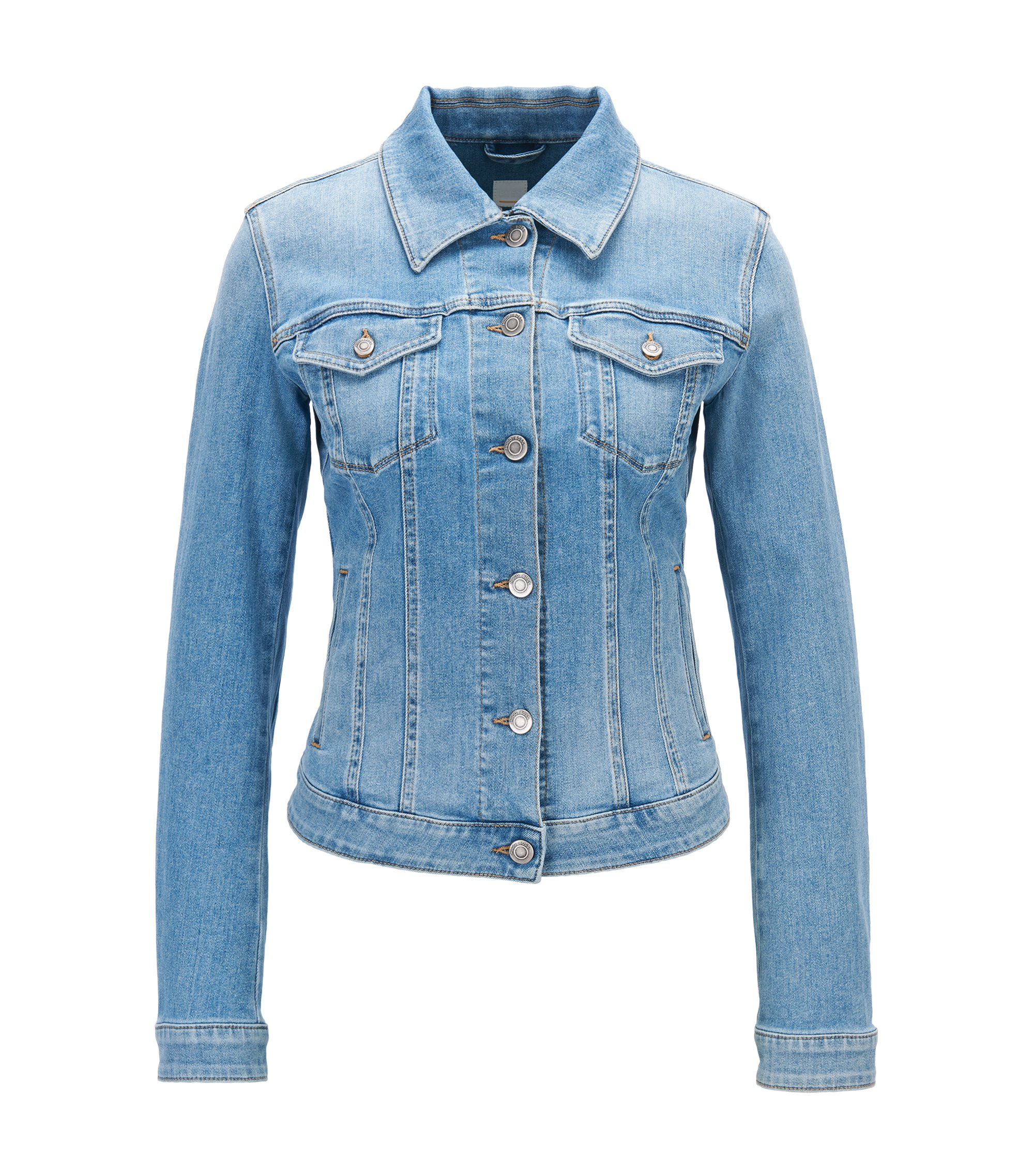 Slim-fit jean jacket in light-blue stretch denim with used effects, Blue