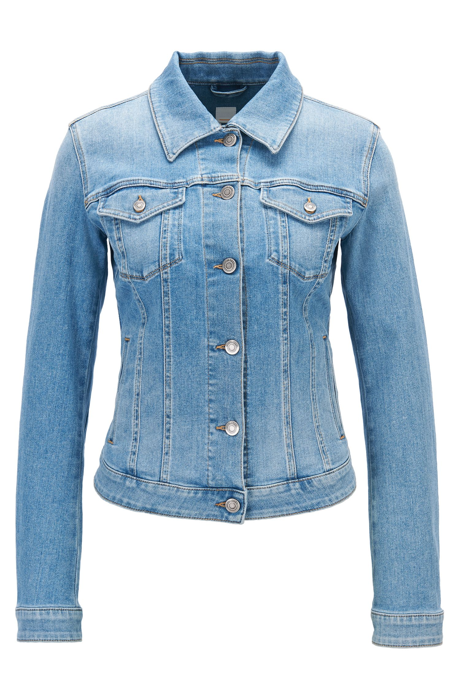 Veste en jean Slim Fit en denim stretch bleu clair à effets usés