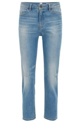 Relaxed-Fit Jeans aus komfortablem Stretch-Denim in Cropped-Länge, Blau