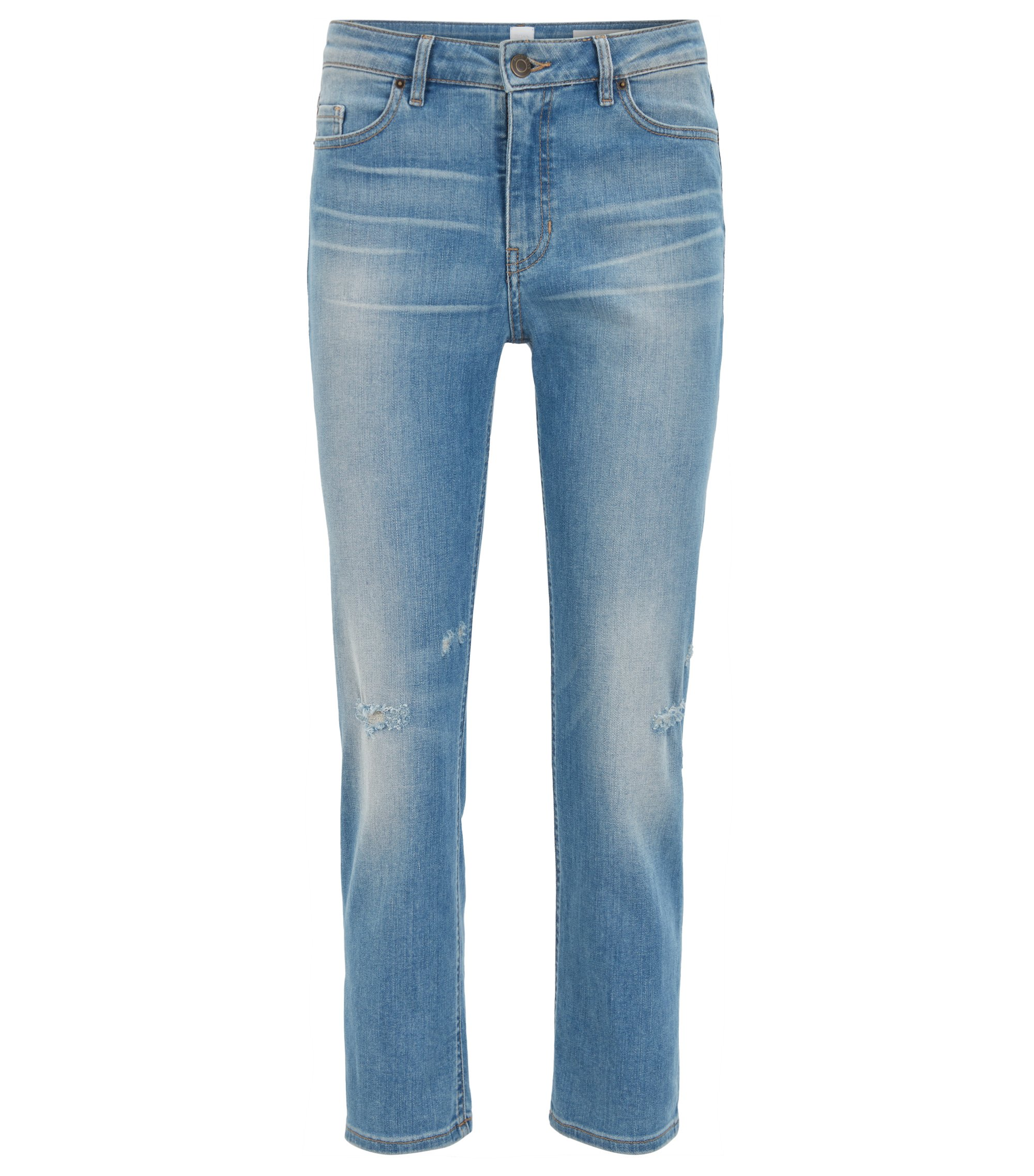 Relaxed-fit cropped jeans in comfort-stretch denim, Blue